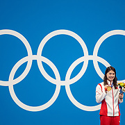 TOKYO, JAPAN - JULY 29:   Yufei Zhang of China on the podium with the gold medal after winning the 200m butterfly for women during the Swimming Finals at the Tokyo Aquatic Centre at the Tokyo 2020 Summer Olympic Games on July 29, 2021 in Tokyo, Japan. (Photo by Tim Clayton/Corbis via Getty Images)
