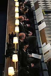 (top to bottom) Lady Louise Windsor, the Countess of Wessex, James Viscount Severn, the Earl of Wessex, The Duke of Cambridge and the Duchess of Cambridge during the funeral of the Duke of Edinburgh in St George's Chapel, Windsor Castle, Berkshire. Picture date: Saturday April 17, 2021.