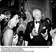Laure Boulay de Meurthe & Sir James Goldsmith.  Ball given by Count Giovanni Volpi. Venice. 31 August 1991. Film 91589f31<br />