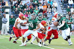 19 September 2015:  Jordan Beem cuts through the traffic during an NCAA division 3 football game between the Simpson College Storm and the Illinois Wesleyan Titans in Tucci Stadium on Wilder Field, Bloomington IL