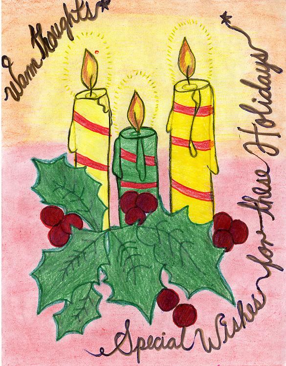 Holiday card designed by Lidia F. Batz of Liberty High School.