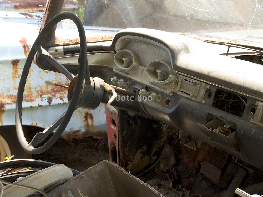 Interior of an old abandoned classic car