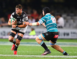 Ruan Botha of the Sharks runs into Stephan Vermeulen during the Currie Cup match between the The Sharks and The Griquas held at King's Park, Durban, South Africa on the 12th August 2016<br /> <br /> Photo by:   Anesh Debiky / Real Time Images
