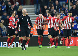Saints players celebrates Morgan Schneiderlin's goal - Photo mandatory by-line: Paul Knight/JMP - Mobile: 07966 386802 - 04/01/2015 - SPORT - Football - Southampton - St Mary's Stadium - Southampton v Ipswich Town - FA Cup Third Round
