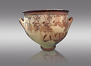 'House of Warriors Vase' : Pictoral Mycenaean Krater depicting Mycenaean soldiers in full armour, Mycenae Acropolis, 12th Cent BC.  National Archaeological Museum Athens. Cat no 1426.  Grey Background<br /> <br /> This large pictoral Mycenaean Krater depicts Mycenaean soldiers full armed with helmet, cuirass, greaves, shield and spaer as they depart for war. This is a superb example of Mycenaean pictoral pottery .<br /> <br /> If you prefer to buy from our ALAMY PHOTO LIBRARY  Collection visit : https://www.alamy.com/portfolio/paul-williams-funkystock/mycenaean-art-artefacts.html . Type -   Athens    - into the LOWER SEARCH WITHIN GALLERY box. Refine search by adding background colour, place, museum etc<br /> <br /> Visit our MYCENAEN ART PHOTO COLLECTIONS for more photos to download  as wall art prints https://funkystock.photoshelter.com/gallery-collection/Pictures-Images-of-Ancient-Mycenaean-Art-Artefacts-Archaeology-Sites/C0000xRC5WLQcbhQ