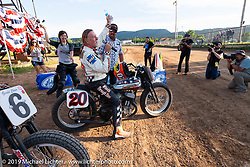 George Wills (no. 20) on his Harley-Davidson tank-shift Flathead racer after his win in the Spirit of Sturgis races at the fairgrounds during the Sturgis Black Hills Motorcycle Rally. Sturgis, SD, USA. Monday, August 5, 2019. Photography ©2019 Michael Lichter.