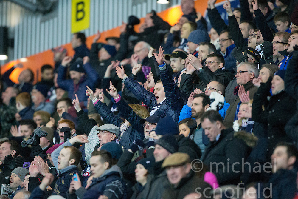 After Falkirk's third goal, south stand. <br /> Falkirk 3 v 2 Rangers, Scottish Championship game player at The Falkirk Stadium, 18/3/2016.