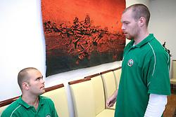 Kevin Mitchell and Andrej Tavzelj at meeting of HD Tilia Olimpija with slovenian journalists before the new season,  on September 15, 2008 in Tivoli, Ljubljana, Slovenia.  (Photo by Vid Ponikvar / Sportal Images)
