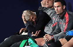Arsenal manager Arsene Wenger shows his frustration in the dugout during the UEFA Europa League, Semi Final, Second Leg at Wanda Metropolitano, Madrid.