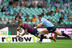 March 9, 2019 - Sydney, NSW, U.S. - SYDNEY, NSW - MARCH 09: Reds player Chris Feauai-Sautia (14) dives to score a try at round 4 of Super Rugby between NSW Waratahs and Queensland Reds on March 09, 2019 at The Sydney Cricket Ground, NSW. (Photo by Speed Media/Icon Sportswire) (Credit Image: © Speed Media/Icon SMI via ZUMA Press)