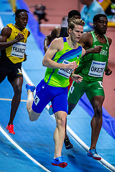 BIRMINGHAM, ENGLAND - MARCH 02: Javon Francis of Jamaica, Chidi Okezie of Nigeria,  Luka Janezic of Slovenia compete during round 1 of the Men's 400m at the IAAF World Indoor Championships at Arena Birmingham on March 2, 2018 in Birmingham, England. Photo by Ronald Hoogendoorn / Sportida