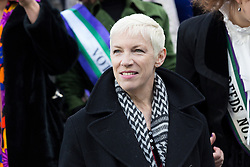 "© Licensed to London News Pictures. 08/03/2015. London, UK. Annie Lennox at the ""Walk In Her Shoes"" event to mark International Women's Day at The Scoop amphitheatre on the south bank in London. Photo credit : Vickie Flores/LNP"
