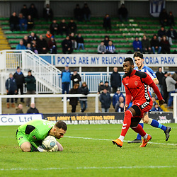 TELFORD COPYRIGHT MIKE SHERIDAN 12/1/2019 - Amari Morgan Smith of AFC Telford sees his effort saved by Scott Loach during the Vanarama Conference North fixture between AFC Telford United and Hartlepool United at the Super Six Stadium.