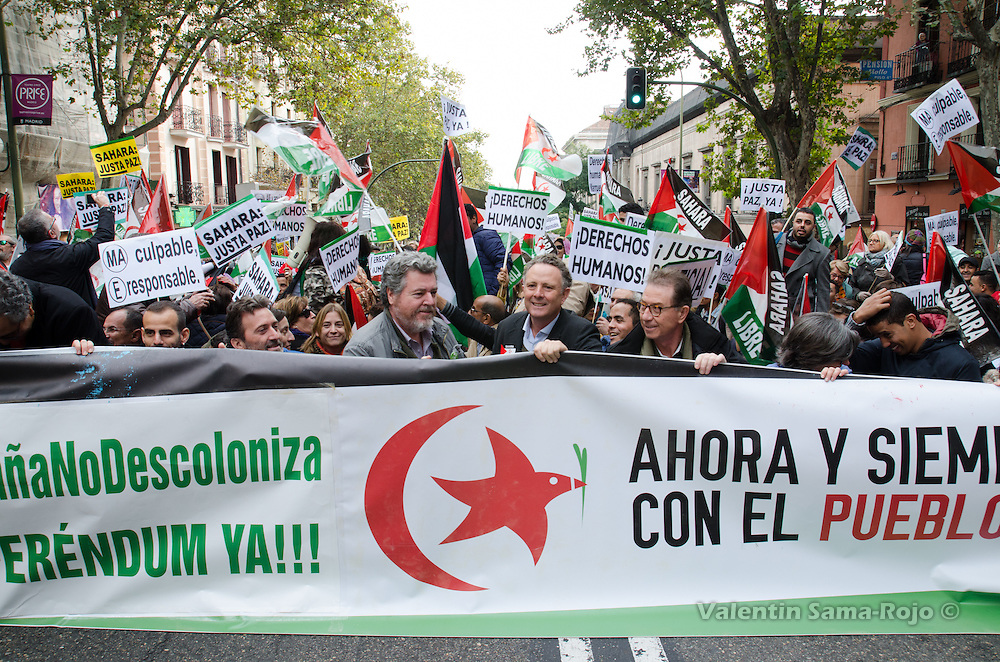 Madrid, Spain. 12th November, 2016. People staged a 'sit-in' during the demonstration for a free Sahara held in Madrid.