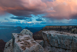 A full moon over the Grand Canyon at sunset adds a bit of spice to this already grand landscape.