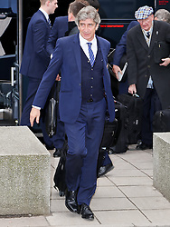 Manchester City Manager, Manuel Pellegrini arrives at Manchester Airport to board the team flight to Barcelona ahead of the UEFA Champions League second leg match against Barcelona - Photo mandatory by-line: Matt McNulty/JMP - Mobile: 07966 386802 - 17/03/2015 - SPORT - Football - Manchester - Manchester Airport - Barcelona v Manchester City - UEFA Champions League