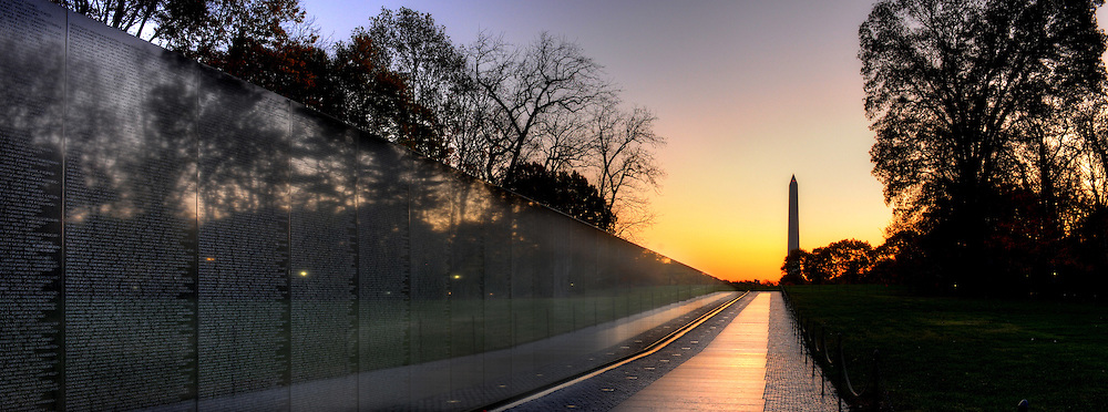 Panoramic Photograph of Vietnam Veterans Memorial, Washington, DC.  Print Size (in inches): 15x5.5; 24x9; 36x13; 48x18; 60x22.5; 72x27.