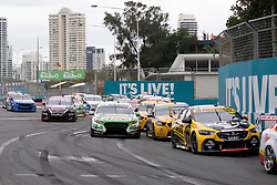 October 21, 2018 - Gold Coast, QLD, U.S. - GOLD COAST, QLD - OCTOBER 21: Cars file through turn one and two on the first lap at The 2018 Vodafone Supercar Gold Coast 600 in Queensland, Australia. (Photo by Speed Media/Icon Sportswire) (Credit Image: © Speed Media/Icon SMI via ZUMA Press)
