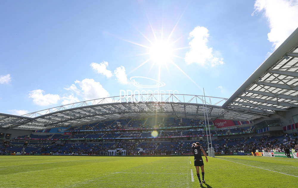 USA Mike Petri leaves the field of play after the Rugby World Cup 2015 match between Samoa and USA at the Brighton Community Stadium, Falmer, United Kingdom on 20 September 2015.