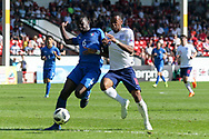 Paolo Gozzi Iweru of Italy (6) tackles Rayhaan Tulloch of England (16) during the UEFA European Under 17 Championship 2018 match between England and Italy at the Banks's Stadium, Walsall, England on 7 May 2018. Picture by Mick Haynes.