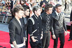 © Licensed to London News Pictures. 20/08/2013, UK. Louis Tomlinson; Zayn Malik; Niall Horan; Harry Styles; Liam Payne; One Direction: This Is Us - World film premiere, Leicester Square, London UK, 20 August 2013<br />  Photo credit : Richard Goldschmidt/Piqtured/LNP