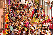 04 APRIL 2004 - SAN MIGUEL DE ALLENDE, GUANAJUATO, MEXICO: The Palm Sunday procession for the Parroquia, the main Catholic church in San Miguel de Allende, winds through the city streets, April 4. Palm Sunday is the reenactment of Christ's entry in Jerusalem and marks the first day of Holy Week. Holy Week is celebrated throughout central Mexico with Processions and special masses. PHOTO BY JACK KURTZ