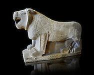 Lion sculptures from the city gate of  Sam'al - Zincirli. Neo Syro Hittite. Basalt 8th century BC. Pergamon Museum Berlin.