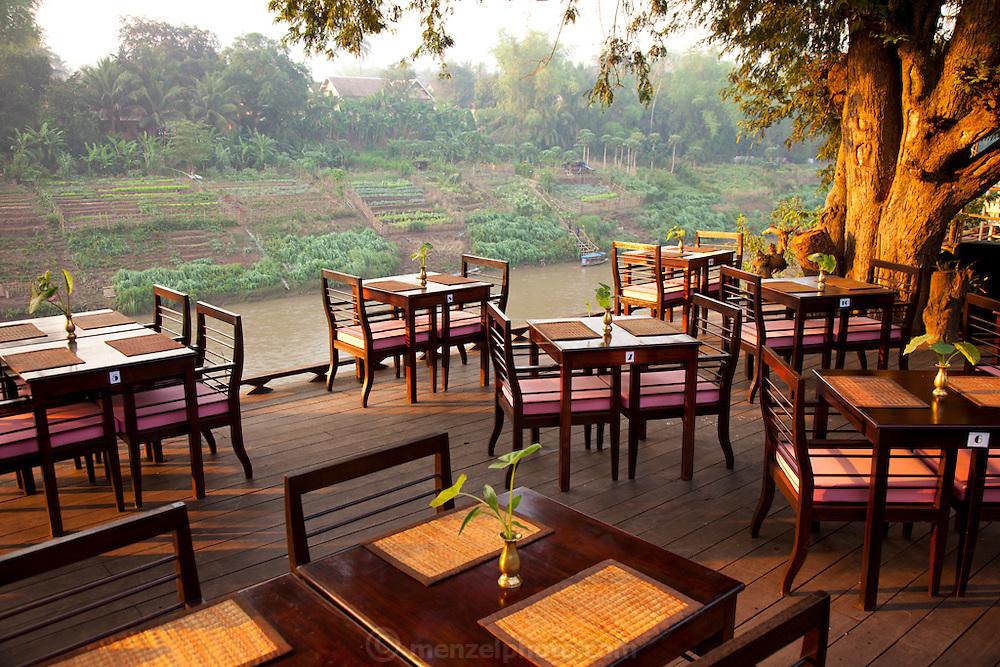 Nam Khan River-side restaurant in  Luang Prabang, Laos.