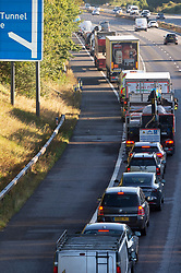 © Licensed to London News Pictures 29/09/2021.<br /> Swanley, UK, Vehicles queuing at junction three on the M25 in Kent as Insulate Britain protesters are arrested again. Photo credit:Grant Falvey/LNP