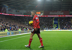 Cardiff City's Craig Bellamy wake to take the corner that Cardiff City's Steven Caulker scores - Photo mandatory by-line: Joe Meredith/JMP - Tel: Mobile: 07966 386802 03/11/2013 - SPORT - FOOTBALL - The Cardiff City Stadium - Cardiff - Cardiff City v Swansea City - Barclays Premier League