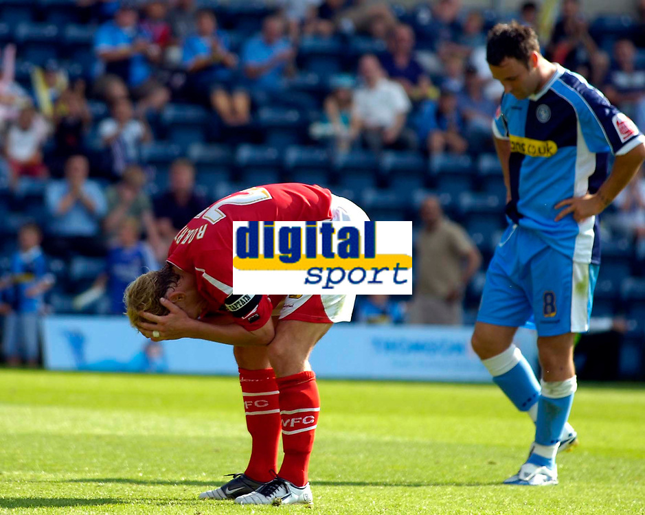 Photo: Alan Crowhurst.<br />Wycombe Wanderers v Wrexham. Coca Cola League 2.<br />05/08/2006. Wrexham's Neil Roberts can't believe he's missed late on.