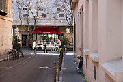 """April, 4th 2020 - Paris, Ile-de-France, France: Isolation in the Marais during the spread of the Coronavirus, during the first month of near total lockdown imposed in France. A week after President of France, Emmanuel Macron, said the citizens must stay at home for at least 15 days, that has been extended. He said """"We are at war, a public health war, certainly but we are at war, against an invisible and elusive enemy"""". All journeys outside the home unless justified for essential professional or health reasons are outlawed. Anyone flouting the new regulations is fined. Nigel Dickinson"""