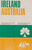 Rugby 1968 - 26/10 Tour Match Ireland Vs Australia
