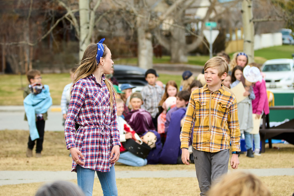 Coco Krauzig as Beatrice.<br /> Asher Johnson as Bededick.<br /> <br /> Yukon Montessori School performed Shakespeare's Much Ado About Nothing in Helicopter Park on May 19 in Whitehorse, Yukon Canada.