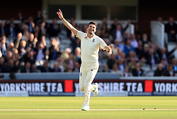 File photo dated 08-09-2017 of England's James Anderson celebrates after bowling West Indies' Kraigg Brathwaite to take his 500th Test wicket
