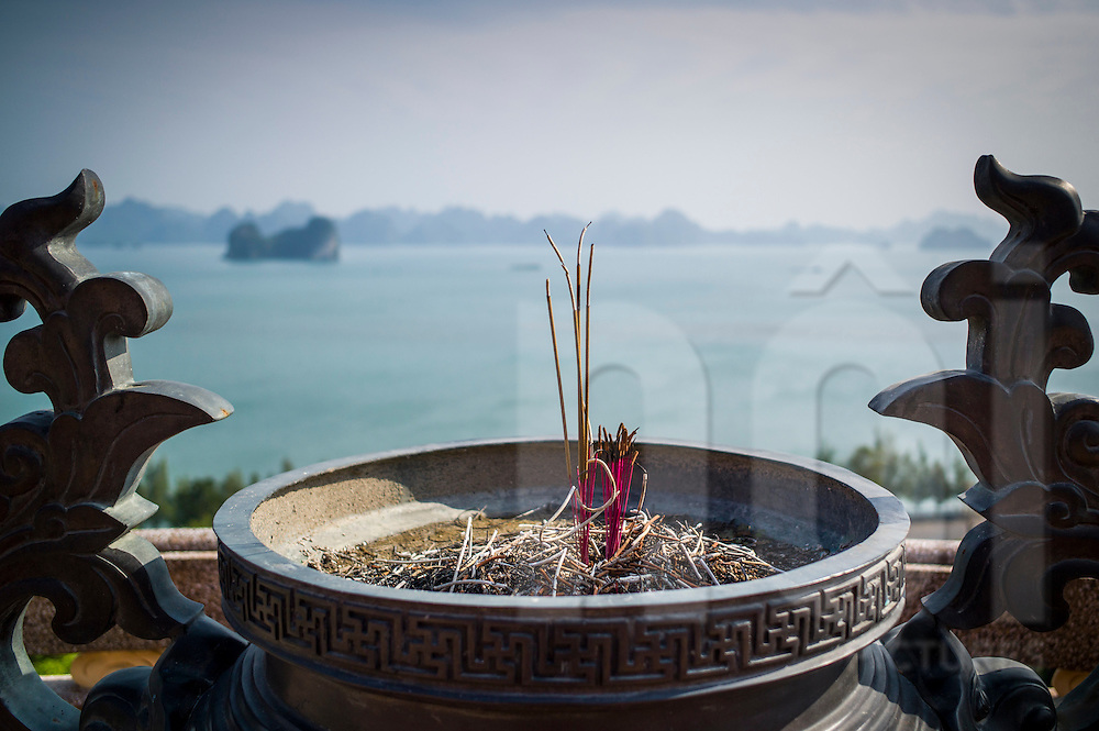 Incense burner pot of Chua Cai Bau - Cai Bau Pagoda on Van Don Island, Quang Ninh Province, Vietnam, Southeast Asia
