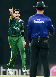 © Licensed to London News Pictures. 04/10/2012. Pakistani Umar Gul appeals for an LBW during the World T20 Cricket Mens Semi Final match between Sri Lanka Vs Pakistan at the R Premadasa International Cricket Stadium, Colombo. Photo credit : Asanka Brendon Ratnayake/LNP