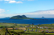 Houses speckle the landscape at Dun Chaoin on the Dingle Penninsula overlooking the Blasket Islands in County Kerry, Ireland<br /> Picture by Don MacMonagle -macmonagle.com