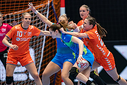 Ana Gros of Slovenia, Barbara Lazovic of Slovenia, Danick Snelder of Netherlands, Inger Smits of Netherlands in action during the Women's friendly match between Netherlands and Slovenia at De Maaspoort on march 19, 2021 in Den Bosch, Netherlands (Photo by RHF Agency/Ronald Hoogendoorn)