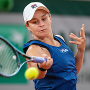 PARIS, FRANCE May 25.   Ashleigh Bartyof Australia practicing on Court Philippe-Chatrier with in preparation for the 2021 French Open Tennis Tournament at Roland Garros on May 25th 2021 in Paris, France. (Photo by Tim Clayton/Corbis via Getty Images)