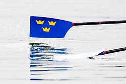 August 3, 2018 - Glasgow, UNITED KINGDOM - 180803 A close-up of the oars of Filip Nilsson and Mattias Johansson of Sweden (not pictured) in the Lightweight Men's Rowing Double Sculls repechage during the European Championships on August 3, 2018 in Glasgow..Photo: Jon Olav Nesvold / BILDBYRÃ…N / kod JE / 160281 (Credit Image: © Jon Olav Nesvold/Bildbyran via ZUMA Press)