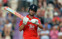 England's Jonathan Trott examines the broken handle of his bat after hitting his 50th run during the Second One Day International at the Ageas Bowl, Southampton.