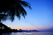 Moorea at sunrise as seen from Tahiti,<br /> Society Islands, French Polynesia, <br /> ( South Pacific Ocean )