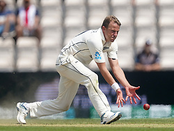 New Zealand's Neil Wagner intercepts the ball during day six of the ICC World Test Championship Final match at The Ageas Bowl, Southampton. Picture date: Wednesday June 23, 2021.