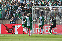 May 20, 2018 - Lisbon, Portugal - Aves' forward Alexandre Guedes (L) shoots to score during the Portugal Cup Final football match CD Aves vs Sporting CP at the Jamor stadium in Oeiras, outskirts of Lisbon, on May 20, 2015. (Credit Image: © Pedro Fiuza/NurPhoto via ZUMA Press)