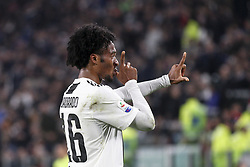 November 3, 2018 - Turin, Italy - Juventus forward Juan Cuadrado (16) celebrates after scoring his goal during the Serie A football match n.11 JUVENTUS - CAGLIARI on 03/11/2018 at the Allianz Stadium in Turin, Italy. (Credit Image: © Matteo Bottanelli/NurPhoto via ZUMA Press)