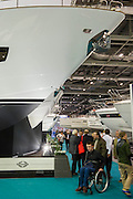 The Sunseeker stand includes Nicole Scherzinger launching the new Predator 57 with the Sunseeker Founder, Robert Braithwaite. The CWM FX London Boat Show, taking place 09-18 January 2015 at the ExCel Centre, Docklands, London. 09 Jan 2015.