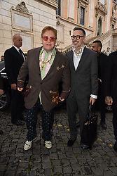 Rome, Piazza Del Campidoglio Event Gucci Parade at the Capitoline Museums, In the picture: Elton John with David Furnish