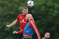CARDIFF, WALES - Saturday, June 4, 2016: Wales' Sam Vokes and James Collins during a training session at the Vale Resort Hotel ahead of the International Friendly match against Sweden. (Pic by David Rawcliffe/Propaganda)