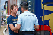 Rik Verbrugghe (BEL - Bahrain - Merida) with Gendarmerie member during the 105th Tour de France 2018, Stage 13, Bourg d'Oisans - Valence (169,5 km) on July 20th, 2018 - Photo Luca Bettini / BettiniPhoto / ProSportsImages / DPPI